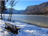 Čudovita naravaklopca s pogledom na zaledenelo jezero