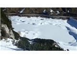 Marmolada pozimiLago Fedaia, umetno jezero skoraj brez vode na višini približno 2000m.