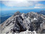 Grintovec in Kočnapogled nazaj - vršnji greben proti Kokrski Kočni in na Oltarje na JZ greben