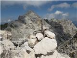 Viš - SZ deberVrh Koštrunovih špic s piramido  Viša v ozadju. Res je Močna gora.