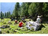 Slovenske planine v vseh letnih časihLušten kotiček za malico na začetku planine.