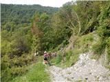 Breginjski kot & Nadižapoškodovani del ceste, kjer je sprva teren prece strm, gruščast in kamnit