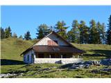 Slovenske planine v vseh letnih časihSodobna planšarija na zgornjem delu planine.