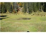 Slovenske planine v vseh letnih časihNa drugi mlaki pa je nekaj vode-tudi na zemljevidu so mlake vrisane.