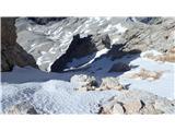 Na Triglav?Pogled na drugo stran Triglavske škrbine, proti Plemenicam. Sneg je trd, brez derez zna biti problematično.