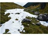 Slovenske planine v vseh letnih časihTakoj pod sedlo je bil še sneg.