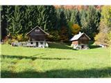Slovenske planine v vseh letnih časihMimo nekega pašnika , kjer sta  dve lični brunarici.