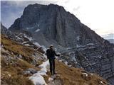 Špik nad nosom (Foronon del Buinz)Pristop do sedla, pod zavarovanim plezalnim skokom na greben...