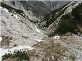 Krnička gora iz Matkove KrnicePo pristopni pikčasti grapi navzdol...