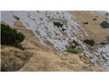 GrintovecPot sprva vodi po travnatih pobočjih. Vidi se, da je bila ročno izkopana in ne samo uhojena.