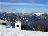 Romanje na Sv. Višarjev ozadju Monte Cocco in Lepi Vršič, skrajno levo Monte Poludnig, desno od turna Monte Sagran