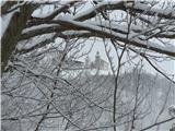 Sv. Primož nad Kamnikomše zadnji pogled na sv. Primož, potem pa megla do vznožja