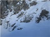 Grape, slapovi, zimski alpinistični vzponinad zgornjim se začne grapa v desno, nato v levo in potem še naprej cikcak