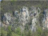 Gonžarjeva pečin še bližji pogled na plezalni del