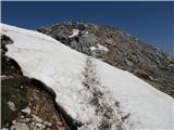 Storžič Tik pod vrhom stopiš edinokrat na sneg