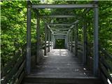Grlovecs parkirišča se gre čez most za sotesko Čepo