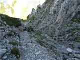 Zajzera, Kamniti lovec, Mrzle vodePogled na grapo, po kateri poteka zgornji del poti