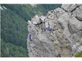 Katera rožca je to?Posnetek prav z vrha Črne prste navzdol v strmo skalovje.