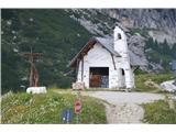 Znamenja (križi in kapelice) na planinskih potehKapalica na Passo Falzerego, ki so jo očitno kar spremenili v prodajni kiosk za spominke.