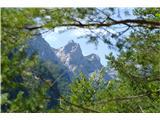 Robanov kot - Robanova planinautrinek gora skozi drevesno okno