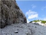 Matkova kopaže v zgornjem delu melišča pod Krničkim sedlom