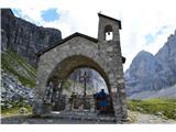 Znamenja (križi in kapelice) na planinskih potehTo pa je kapelica pri koči Brentei-posvečena je žrtvam v gorah-alpinistom in planincem.