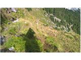 Mangartpri markirni palici je pot spet jasno vidna, lagodno v ključih čez strmo stopnico