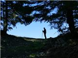 Menina planinasilhueta našega pohodnika