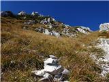 Prečenje Trentski Pelc - Srebrnjaknad grapo lažje nadaljevanje proti grebenu, a je bolj strmo kot izgleda