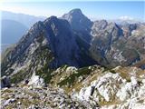Prečenje Trentski Pelc - Srebrnjakpogled proti Srebrnjaku in Bavškemu Grintovcu, spodaj pa je greben Ribežnov