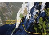 Prečenje Trentski Pelc - Srebrnjaktale je prava,  severna polička 10 m pod grebenem je ključni del spusta na Ribežne
