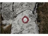 Alta via CAI Gemona (greben Lanež - Veliki Karman)Presenečenje v obliki naših markacij v Italiji. Nekaj podobnega je pod Košuto čez Meli, le da je tam Avstrija