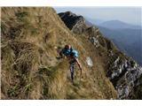 Alta via CAI Gemona (greben Lanež - Veliki Karman)Nadaljevanje po pobočjih Laneža je izjemno strmo in izpostavljeno. Suhe trave so nadvse zaželjene