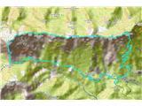 Alta via CAI Gemona (greben Lanež - Veliki Karman)Zemljevid prehojene poti