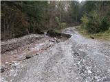 Storžič del ceste je pohrustal potok