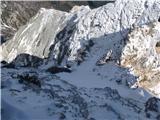 Krnička gora iz Matkove KrniceNeroden sestop do grape. Tu mi novi sneg ni bil všeč.