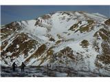 Monte Paularo in Monte Dimonv sedlu med Mt. Neddisom in Mt. Dimonom