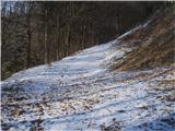 Drameljska planinska pot...zasneženo in še dokaj ledeno v gozdu...