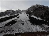 Ljubelj - Koča VrtačaVišje je še sneg