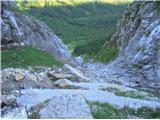 Rjavčki vrh ali Planinšca ( 1898m )Pod odlomom je še veliko kamenja, ki čaka na pot v dolino