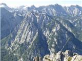 Kanceljni, Prevčev stolp, PlanjaZadnjiški Ozebnik. Za vrhom Malošpičje, levo Zasavska koča, desno Veliko špičje, ki ga z juga napada megla.