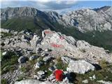 Južni VelebitNa vrhu Goliča, do katerega smo hodili 8 ur, daleč zadaj prelaz Buljma in Struge.