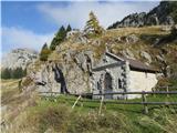 Creta di Timau in Cima Avostanismalce skrita kapelica pod planino Palgrande di sotto